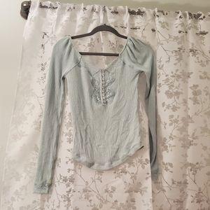 Free people off the shoulder mint blouse